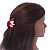 Red, White Acrylic Crystal 'Dog' Hair Claw - 60mm Width - view 3