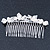 Bridal/ Wedding/ Prom/ Party Rhodium Plated Clear Crystal Simulated Pearl Double Butterfly Hair Comb - 95mm - view 5