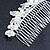 Bridal/ Wedding/ Prom/ Party Rhodium Plated Clear Crystal Simulated Pearl Double Butterfly Hair Comb - 95mm - view 4