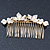 Bridal/ Wedding/ Prom/ Party Gold Plated Clear Crystal Simulated Pearl Double Butterfly Hair Comb - 95mm - view 7