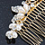 Bridal/ Wedding/ Prom/ Party Gold Plated Clear Crystal Simulated Pearl Double Butterfly Hair Comb - 95mm - view 4