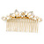 Bridal/ Wedding/ Prom/ Party Gold Plated Clear Crystal Simulated Pearl Double Butterfly Hair Comb - 95mm - view 5