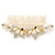 Bridal/ Wedding/ Prom/ Party Gold Plated Clear Crystal Simulated Pearl Double Butterfly Hair Comb - 95mm - view 9