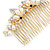 Bridal/ Wedding/ Prom/ Party Gold Plated Clear Crystal Simulated Pearl Double Butterfly Hair Comb - 95mm - view 6