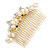 Bridal/ Wedding/ Prom/ Party Gold Plated Clear Crystal Simulated Pearl Double Butterfly Hair Comb - 95mm - view 2