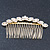 Bridal/ Wedding/ Prom/ Party Gold Plated Clear Crystal, Light Cream Faux Pearl Hair Comb - 95mm - view 7