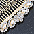 Bridal/ Wedding/ Prom/ Party Gold Plated Clear Crystal, Light Cream Faux Pearl Hair Comb - 95mm - view 5