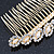Bridal/ Wedding/ Prom/ Party Gold Plated Clear Crystal, Light Cream Faux Pearl Hair Comb - 95mm - view 6