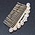 Bridal/ Wedding/ Prom/ Party Gold Plated Clear Crystal, Light Cream Faux Pearl Hair Comb - 95mm - view 2