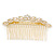 Bridal/ Wedding/ Prom/ Party Gold Plated Clear Crystal, Light Cream Faux Pearl Hair Comb - 95mm - view 8
