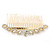 Bridal/ Wedding/ Prom/ Party Gold Plated Clear Crystal, Light Cream Faux Pearl Hair Comb - 95mm - view 10