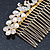 Bridal/ Wedding/ Prom/ Party Gold Plated Clear Crystal, Simulated Pearl 'Double Peacock' Hair Comb - 95mm - view 5