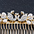 Bridal/ Wedding/ Prom/ Party Gold Plated Clear Crystal, Simulated Pearl 'Double Peacock' Hair Comb - 95mm - view 3