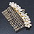 Bridal/ Wedding/ Prom/ Party Gold Plated Clear Crystal, Simulated Pearl 'Double Peacock' Hair Comb - 95mm - view 6