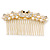 Bridal/ Wedding/ Prom/ Party Gold Plated Clear Crystal, Simulated Pearl 'Double Peacock' Hair Comb - 95mm - view 4