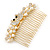 Bridal/ Wedding/ Prom/ Party Gold Plated Clear Crystal, Simulated Pearl 'Double Peacock' Hair Comb - 95mm - view 9
