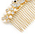 Bridal/ Wedding/ Prom/ Party Gold Plated Clear Crystal, Simulated Pearl 'Double Peacock' Hair Comb - 95mm - view 7