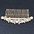 Bridal/ Wedding/ Prom/ Party Gold Plated Clear Crystal, Simulated Pearl Butterfly Hair Comb - 95mm - view 7