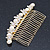 Bridal/ Wedding/ Prom/ Party Gold Plated Clear Crystal, Simulated Pearl Butterfly Hair Comb - 95mm - view 12