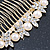 Bridal/ Wedding/ Prom/ Party Gold Plated Clear Crystal, Simulated Pearl Butterfly Hair Comb - 95mm - view 8