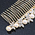 Bridal/ Wedding/ Prom/ Party Gold Plated Clear Crystal, Simulated Pearl Butterfly Hair Comb - 95mm - view 9