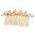 Bridal/ Wedding/ Prom/ Party Gold Plated Clear Crystal, Simulated Pearl Butterfly Hair Comb - 95mm - view 11