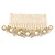 Bridal/ Wedding/ Prom/ Party Gold Plated Clear Crystal, Simulated Pearl Butterfly Hair Comb - 95mm - view 3