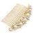 Bridal/ Wedding/ Prom/ Party Gold Plated Clear Crystal, Simulated Pearl Butterfly Hair Comb - 95mm - view 5