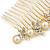 Bridal/ Wedding/ Prom/ Party Gold Plated Clear Crystal, Simulated Pearl Butterfly Hair Comb - 95mm - view 6