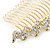 Bridal/ Wedding/ Prom/ Party Gold Plated Clear Austrian Crystal Hair Comb - 100mm - view 9