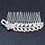 Bridal/ Wedding/ Prom/ Party Rhodium Plated Crystal Flower And Simulated Pearl Leaf Hair Comb - 95mm - view 6