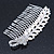 Bridal/ Wedding/ Prom/ Party Rhodium Plated Crystal Flower And Simulated Pearl Leaf Hair Comb - 95mm
