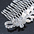 Bridal/ Wedding/ Prom/ Party Rhodium Plated Crystal Flower And Simulated Pearl Leaf Hair Comb - 95mm - view 4