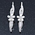 2 Bridal/ Prom 'Crystal Leaves And Simulated Pearl Flower' Hair Grips/ Slides In Rhodium Plating - 60mm Across - view 8