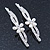 2 Bridal/ Prom 'Crystal Leaves And Simulated Pearl Flower' Hair Grips/ Slides In Rhodium Plating - 60mm Across