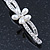 2 Bridal/ Prom 'Crystal Leaves And Simulated Pearl Flower' Hair Grips/ Slides In Rhodium Plating - 60mm Across - view 5