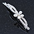 2 Bridal/ Prom 'Crystal Leaves And Simulated Pearl Flower' Hair Grips/ Slides In Rhodium Plating - 60mm Across - view 4