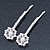 2 Bridal/ Prom Crystal, Simulated Pearl Filigree Flower Hair Grips/ Slides In Rhodium Plating - 55mm Across - view 7