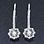 2 Bridal/ Prom Crystal, Simulated Pearl Filigree Flower Hair Grips/ Slides In Rhodium Plating - 55mm Across - view 8