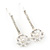 2 Bridal/ Prom Crystal, Simulated Pearl Filigree Flower Hair Grips/ Slides In Rhodium Plating - 55mm Across - view 2