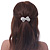 Bridal Wedding Prom Silver Tone Simulated Pearl Diamante 'Bow' Barrette Hair Clip Grip - 65mm Acros - view 4