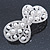 Bridal Wedding Prom Silver Tone Simulated Pearl Diamante 'Bow' Barrette Hair Clip Grip - 65mm Acros - view 6