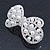 Bridal Wedding Prom Silver Tone Simulated Pearl Diamante 'Bow' Barrette Hair Clip Grip - 65mm Acros - view 8