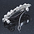 Bridal Wedding Prom Silver Tone Simulated Pearl Diamante 'Bow' Barrette Hair Clip Grip - 65mm Acros - view 5