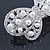 Bridal Wedding Prom Silver Tone Simulated Pearl Diamante 'Bow' Barrette Hair Clip Grip - 65mm Acros - view 7