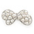 Bridal Wedding Prom Silver Tone Simulated Pearl Diamante 'Bow' Barrette Hair Clip Grip - 65mm Acros - view 2