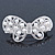 Bridal Wedding Prom Silver Tone Simulated Pearl Diamante 'Asymmetrical Butterfly' Barrette Hair Clip Grip - 65mm Across - view 8