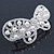 Bridal Wedding Prom Silver Tone Simulated Pearl Diamante 'Asymmetrical Butterfly' Barrette Hair Clip Grip - 65mm Across