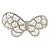 Bridal Wedding Prom Silver Tone Simulated Pearl Diamante 'Asymmetrical Butterfly' Barrette Hair Clip Grip - 65mm Across - view 2