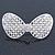 Bridal Wedding Prom Silver Tone Simulated Pearl Diamante 'Classic Bow' Barrette Hair Clip Grip - 65mm Across